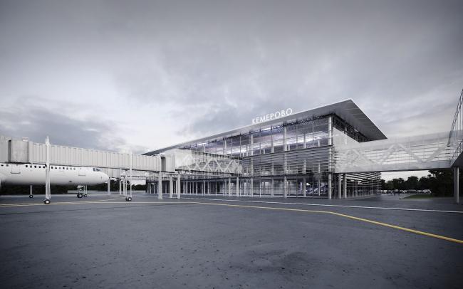 Пассажирский терминал аэропорта в Кемерово. Вид со стороны летного поля