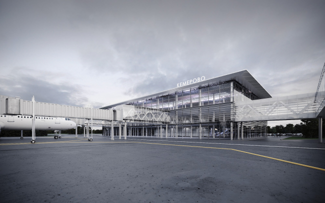 Passenger terminal of the Kemerovo Airport. View from the airfield