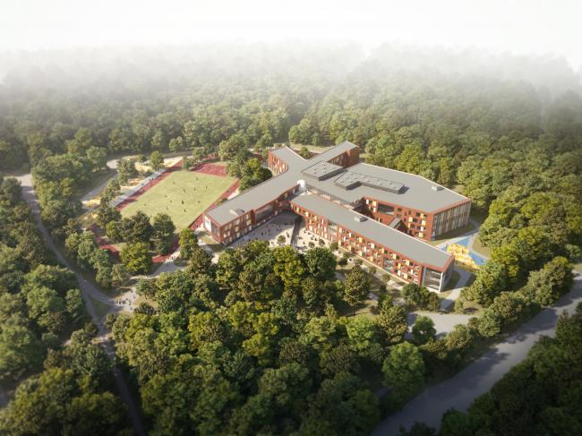 Школа на 2100 мест в  Троицке. Вид сверху со стороны Октябрьского проспекта