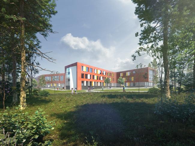 Школа на 2100 мест в Троицке. Учебные корпуса образуют камерные, полузамкнутые дворы