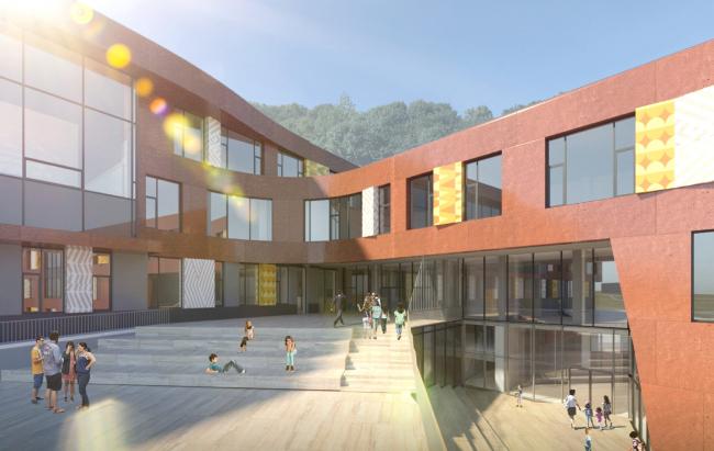 Школа на 2100 мест в Троицке. Входные группы в начальную и основную школу расположены на разных уровнях