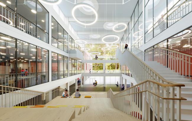Школа на 2100 мест в Троицке. Амфитеатр в атриуме
