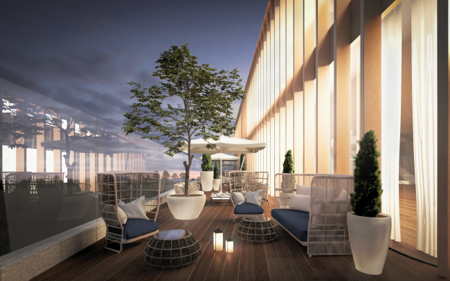The high-end residential complex in the 1st Truzhenikov Lane. The patio on the roof