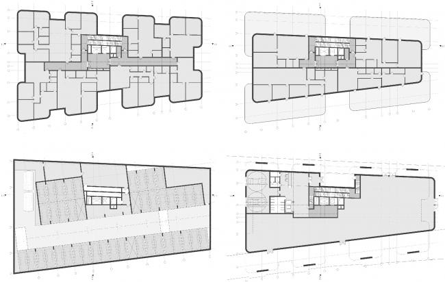 Клубный дом в 1-м Тружениковом переулке. Планы 1-го этажа, паркинга, типового этажа и пентхаусов