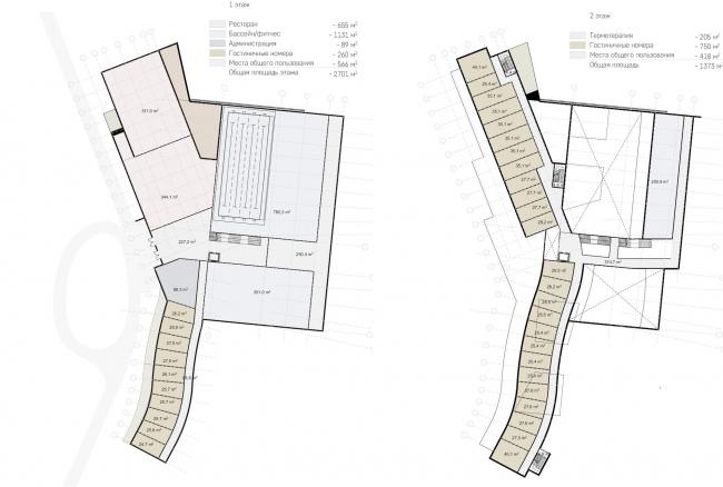 Гостиничный комплекс Amber Residence. Планы 1 и 2 этажей