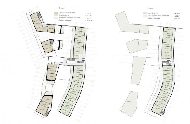 Гостиничный комплекс Amber Residence. Планы 3 и 4 этажей