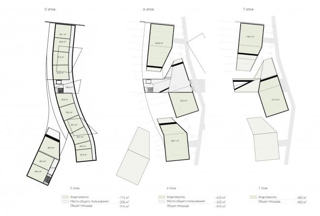 Гостиничный комплекс Amber Residence. Планы 5, 6 и 7 этажей