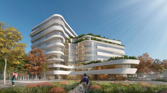 Вид на здание из парка. Проект медико-оздоровительного центра и благоустройство парковой зоны «Бринкманский сад»