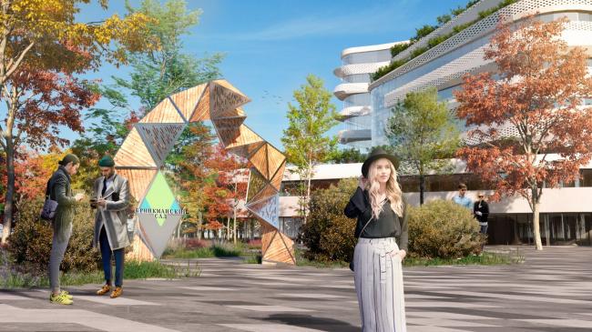 Вид на входную группу с логотипом парка. Проект медико-оздоровительного центра и благоустройство парковой зоны «Бринкманский сад»