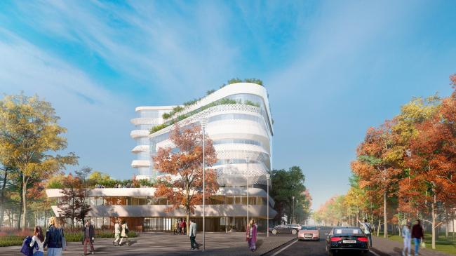 Вид на здание с улицы Транспортной. Проект медико-оздоровительного центра и благоустройство парковой зоны «Бринкманский сад»
