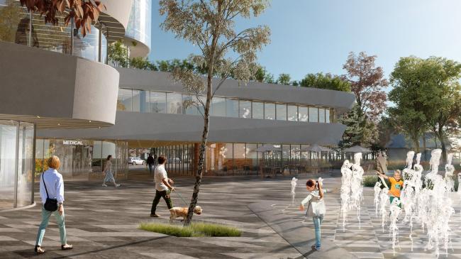Вид на арку и сухой фонтан. Проект медико-оздоровительного центра и благоустройство парковой зоны «Бринкманский сад»