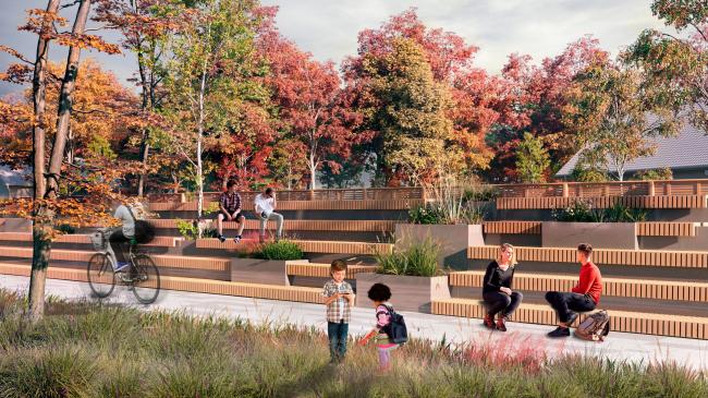 Вид на лектории ограждающие парк от ул. Транспортная. Проект медико-оздоровительного центра и благоустройство парковой зоны «Бринкманский сад»