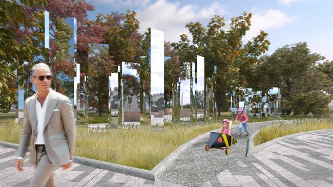 Вид на зеркальные арт-объекты. Проект медико-оздоровительного центра и благоустройство парковой зоны «Бринкманский сад»