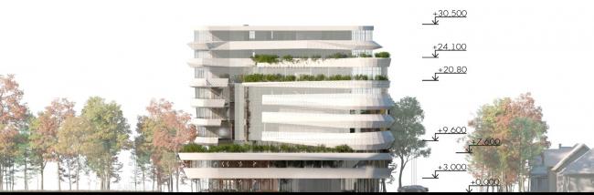 Фасад 1. Проект медико-оздоровительного центра и благоустройство парковой зоны «Бринкманский сад»