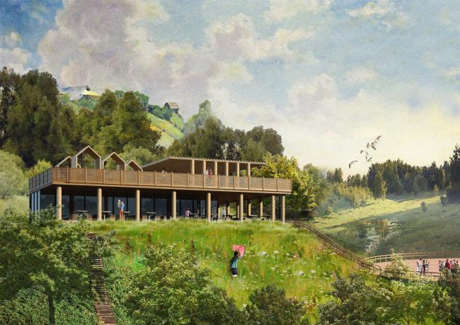 Вид на фудкорт. Создание парка «Крымская горка» в г. Новохоперск