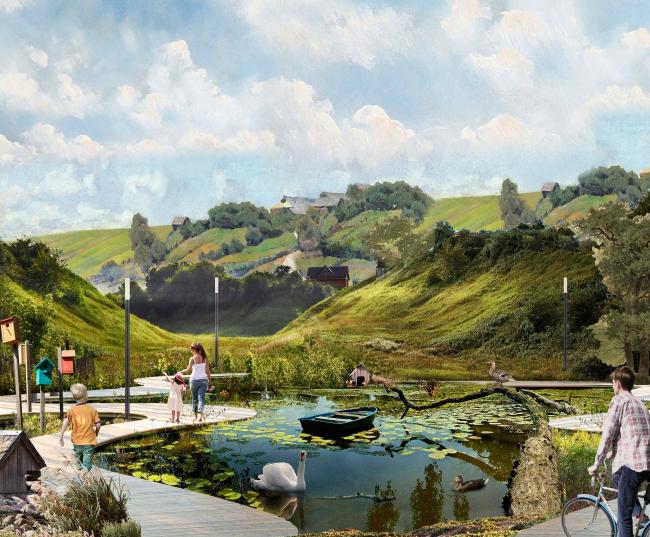 Вид на пруд. Создание парка «Крымкая горка» в г. Новохоперск