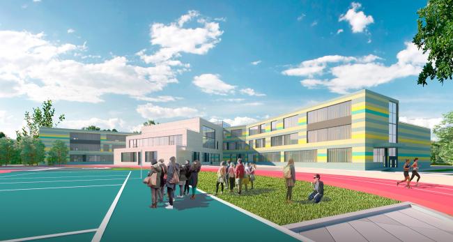 Вид со стороны двора. Общеобразовательная школа на 275 мест