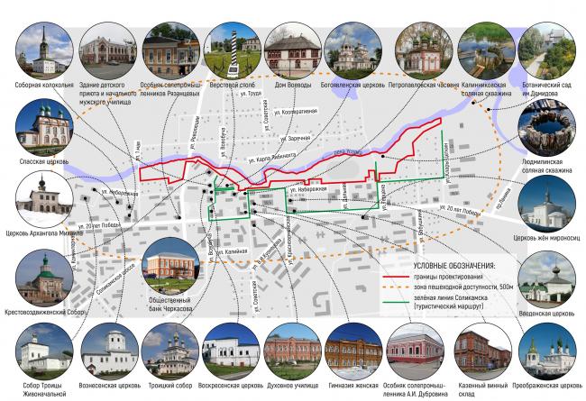 Карта-схема объектов, имеющих важное культурное значение или обладающих нераскрытым культурным потенциалом. Соляная верста