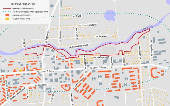 Схема отображающая численность населения, проживающего в пешеходной доступности от территории. Соляная верста