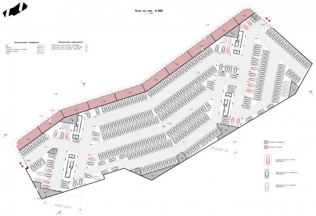 План паркинга на отм. 0.000. ЖК «Зурбаган». Концепция застройки территории в Воронеже, 2018-2020