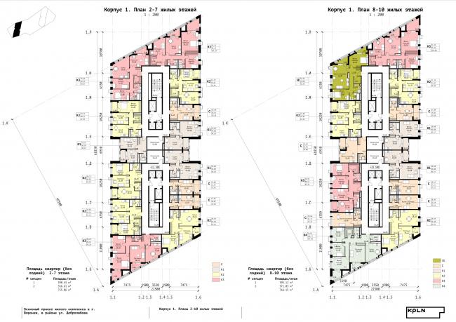 Корпус 1. План 2-7 и 8-10 жилых этажей. ЖК «Зурбаган». Концепция застройки территории в Воронеже, 2018-2020