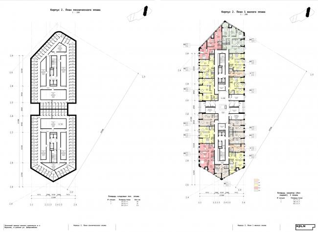 Корпус 2. План технического этажа и план 1 жилого этажей. ЖК «Зурбаган». Концепция застройки территории в Воронеже, 2018-2020