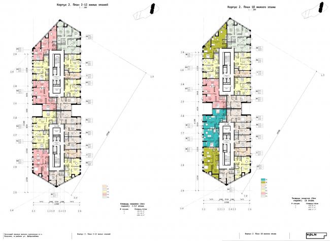 Корпус 2. Планы 2-12 и 18 жилых этажей. ЖК «Зурбаган». Концепция застройки территории в Воронеже, 2018-2020
