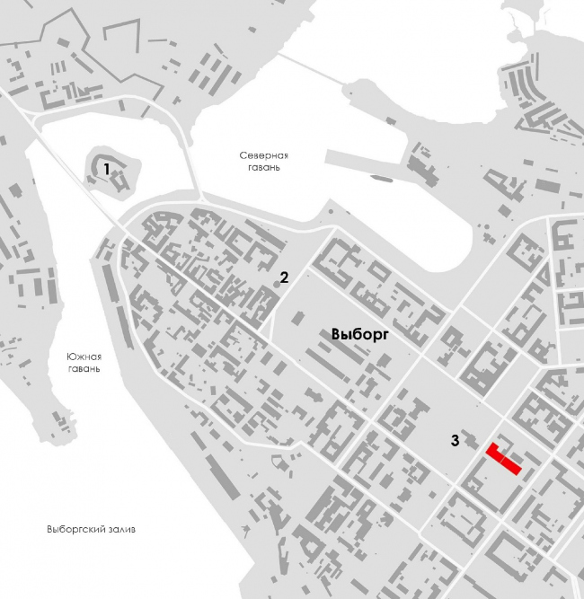 Location plan. The music school with a concert hall in Vyborg