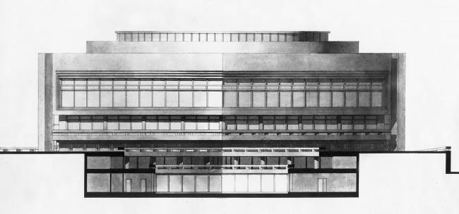 Диагональный фасад корпуса конференц-зала и разрез дворика