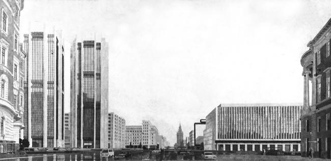 Манежная перспектива Тургеневской площади. 1972 г. Размер 1,5 х 3.0 м