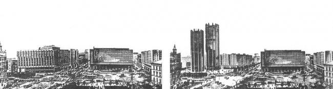 Варианты проекта зданий Минэлектронпрома. 1972 г.