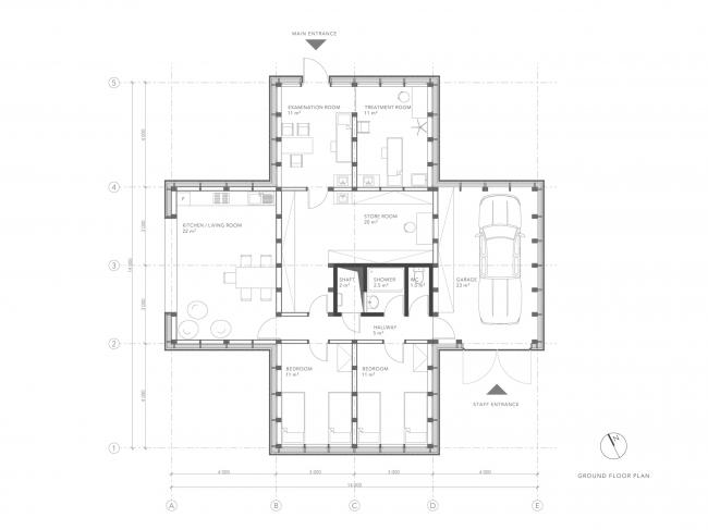 План 1-го этажа. Благотворительная клиника в Никарагуа
