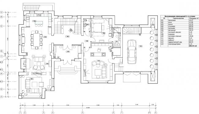 План 1-го этажа с расстановкой мебели. Дом в Подмосковье