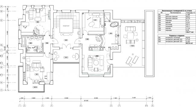 План 2-го этажа с расстановкой мебели. Дом в Подмосковье