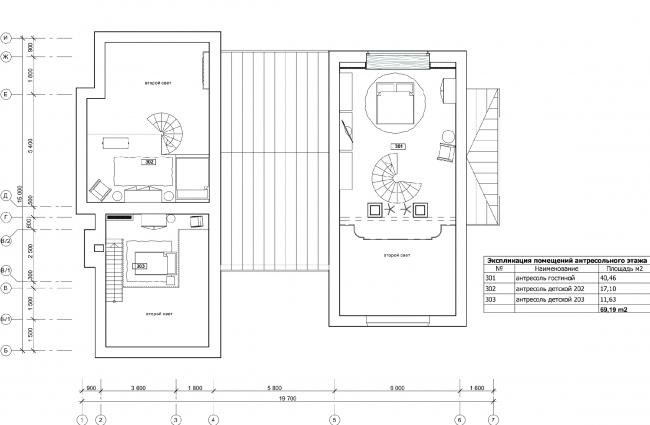 План антресольного этажа. Дом в Подмосковье