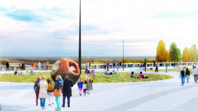Мемориальная зона – место приземления капсулы корабля «Восток 1». Парк покорителей космоса имени Юрия Гагарина
