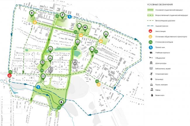 Схема общественных пространств города.  Студенческий луг