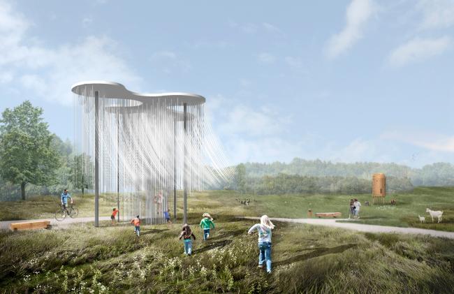 Визуализация. Зона института пищевых технологий и дизайна. Павильон «Облако». Студенческий луг