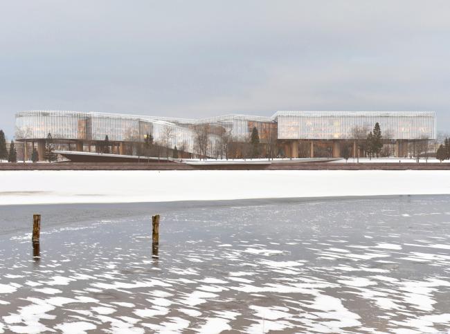 Вид со стороны Невы. Концепция развития территории Охтинского мыса