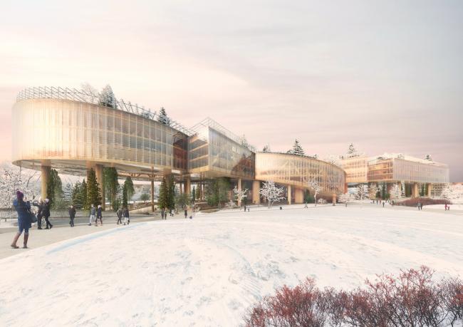 Вид зимой. Концепция развития территории Охтинского мыса