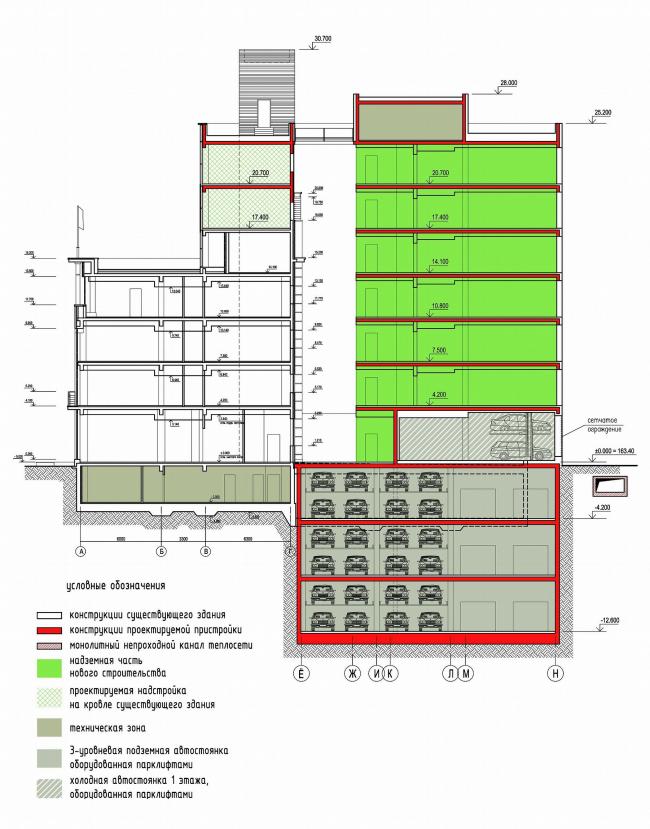 Многофункциональный комплекс с подземной автостоянкой на Лесной улице © Алексей Бавыкин и партнёры