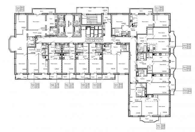 План нижнего типового этажа.ЖК «Дом на Березовой роще»