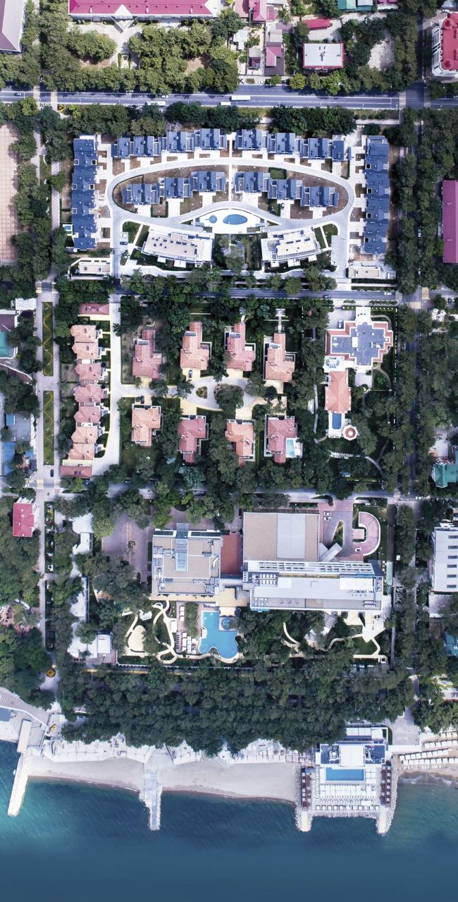 Фрагмент застройки, вид сверху.      Комплекс апартаментов и таунхаусов FELLINI