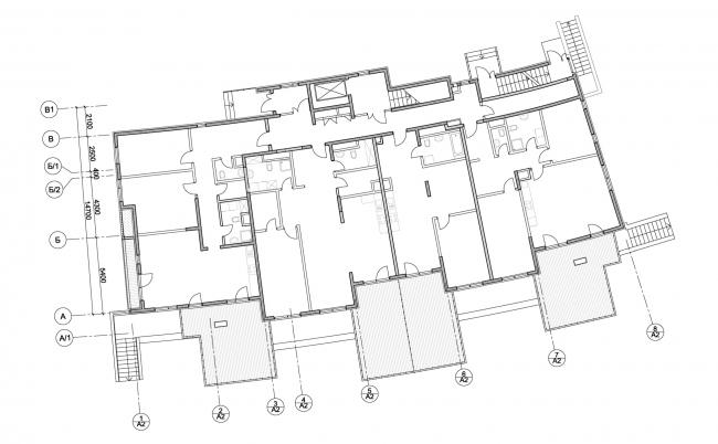 Корпус апартаментов А2.  План 1-го этажа. Комплекс апартаментов и таунхаусов FELLINI