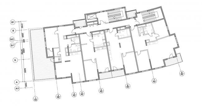 Корпус апартаментов А2.  План 3-го этажа. Комплекс апартаментов и таунхаусов FELLINI