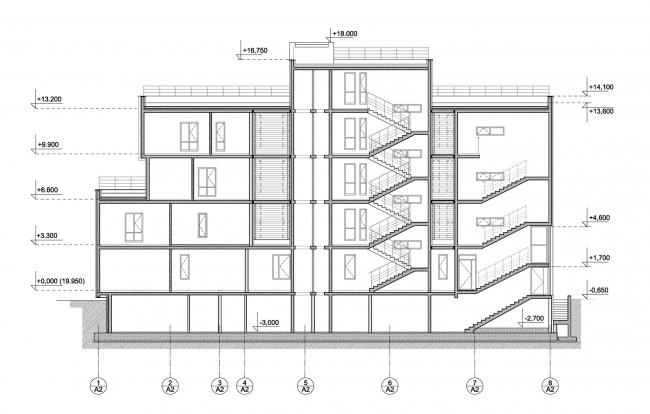 Корпус апартаментов А2.  Разрез 2-2. Комплекс апартаментов и таунхаусов FELLINI