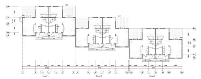 Корпус таунхаусов. План 1-го этажа. Комплекс апартаментов и таунхаусов FELLINI