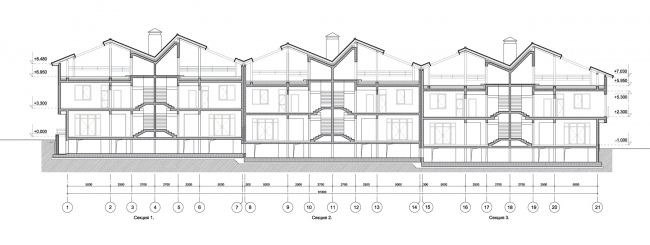 Корпус таунхаусов. Разрез 1-1. Комплекс апартаментов и таунхаусов FELLINI