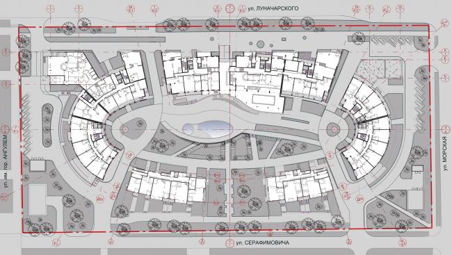 «Овальный дом». Многофункциональный комплекс – апарт-отель с жилыми домами в Геленджике, проект, 2008. генплан