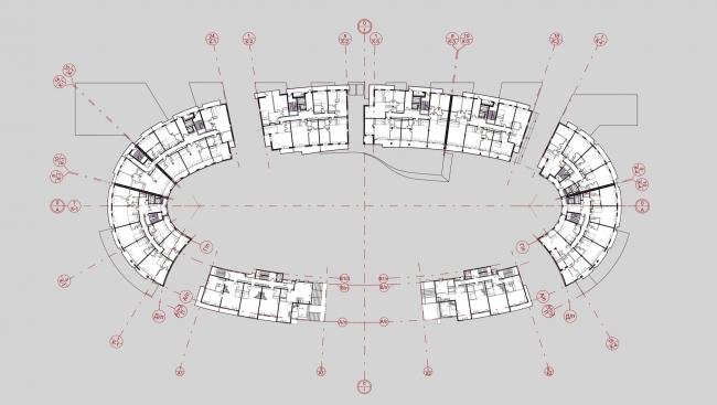 «Овальный дом». Многофункциональный комплекс – апарт-отель с жилыми домами в Геленджике, проект, 2008. План